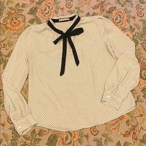 Polka dot neck tie, blouse size small